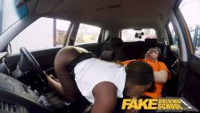 Fake Driving School Hot Ebony Jai James with Huge Tits Cant Drive