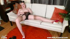 Blonde Satine Spark strips retro lingerie masturbates in red heels nylons - duration 10:16