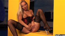 Amazing Blonde In Lingerie Plays With Herself - duration 13:25