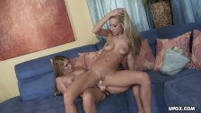 Tight porn babes using a strapon to fuck each other's pussies