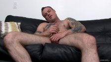 Straight Solo Masturbation For Inked Up Hairy Military Boy