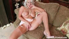 Horny blonde with big tits Lu Elissa wanks off in rare vintage stockings - duration 10:30