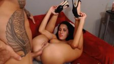 Russian Brunette Gets Anal Fucked While Sucking Her Toy