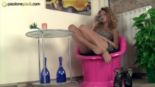 Barefoot redhead puts her feet and her panties in your face