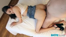 Date Slam - Big-boobed Asian babe gets her hairy pussy creampied - Part 2