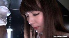 Slutty Japanese chick Yui Hatano blows hard hairy fuck