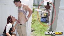 BANGBROS - Sophia Steele Gives Peter Green A Public Blowjob While Bum Walks