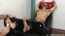 Bound bearded jock tickled hard until he is ready to cry