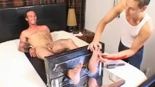 Handsome looking guy gets hardcore tickled and jacked off