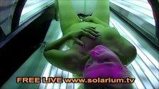 Blonde Hot Horny Girl masturbates in Public Solarium Live Voyeur Cam