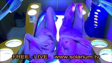 Two hot horny girls with hidden camera filmed in the public solarium