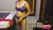 Amazing Indian GF In Blue Bra With Her Boyfriend On Live Webcam Show