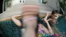 Paradise Gfs - Twins fucking in pool while on vacation in Thailand