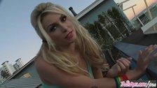 Twistys - Roller teen Heather Vandeven shows off her pigtails and socks