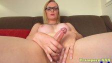 Amateur spex trans wanks hard cock solo