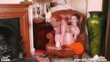 Horny blonde Brook Logan wanks off in vintage fully fashioned nylons garter