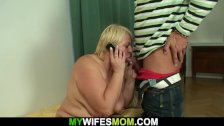 Big tits mother in law rides his cock