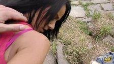 HUNT4K. Slutty girl cheats on boyfriend outdoors in front of him