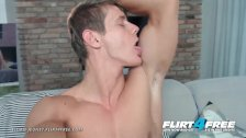 Flirt4Free - Eluan Jeunet - Perfect Ripped Model Stroking His Huge Cock