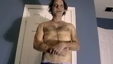 Amateur old man still loves to stroke his rock solid cock