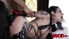 Inked sub Joanna Angel dominated with big cock and fed jizz