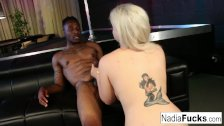 Nadia White takes a black BBC in her tight cunt and wet warm mouth