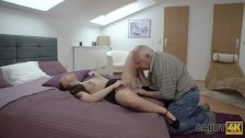 DADDY4K. Dad and young girl hot sex in bed culminates with creampie