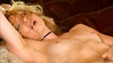 Ivy stripteased and pleased rubbing her luscious shaven pussy