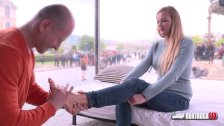 Hot  blonde Candy Alexa first time fucking in public