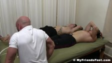 Inked blond tied up and tickled alongside buddy