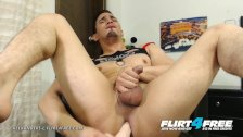Alexanders L - Flirt4Free - Athletic Gay Hispanic Puts Dildo in His Ass