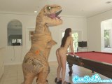 teen latina step sister chased by lesbian loving TREX on a hoverboard