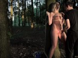 Slave suffers bondage pain rough fuck mouth use humiliation in the woods
