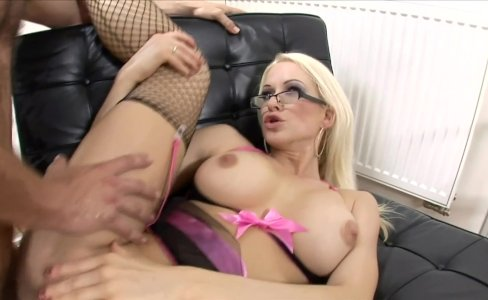 Blonde with glasses fucked in fishnet nylon|23,549 views
