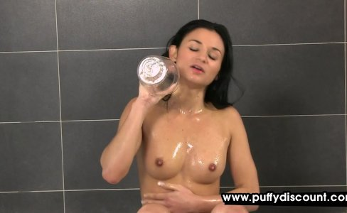 Horny babe uses her toys under shower|1,137 views