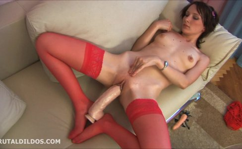 Amateur in red stockings fucking huge dildo|21,387 views