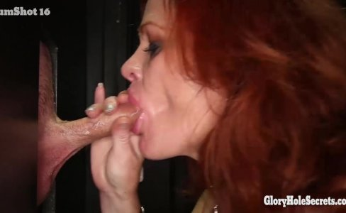 Gloryhole Secrets Redhead Gilf swallows cum|49,337 views