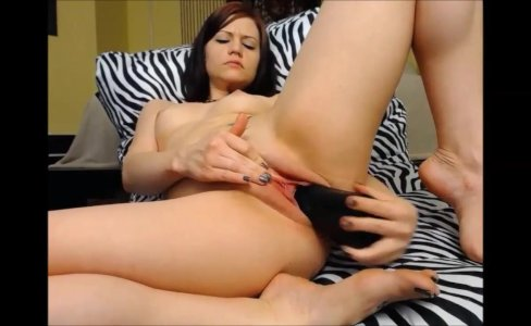 Enjoying my huge black cream dildo|2,052 views