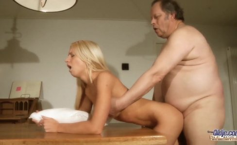 Stunning young blonde fuck an old grandpa|81,443 views