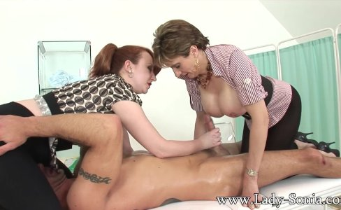 MILFs Lady Sonia and Red jerk off big cock|144,091 views