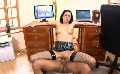 Secretary Renata fucked in black fishnet|10,549 views