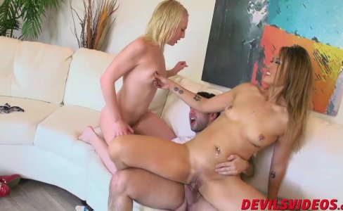 Blonde and Asian share one massive cock|705 views