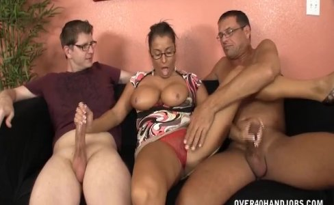 Busty lady jerking two cocks|27,692 views