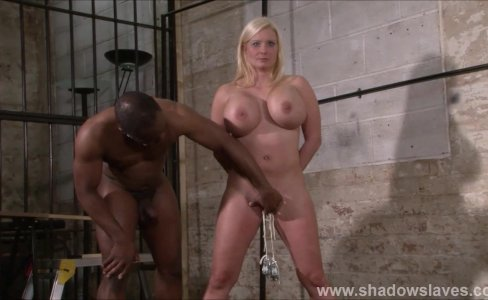 Interracial needle bdsm of busty German slave Melanie Moon in nailed tit to|25,670 views