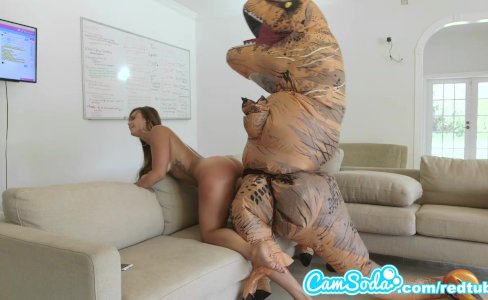 big ass latina teen chased by lesbian loving TREX on hoverboard then fucked|64,721 views