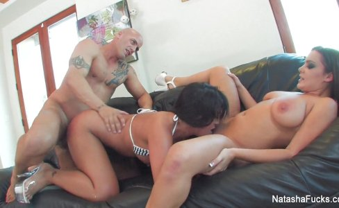 Busty babes Natasha Nice and Kayme Kai share a cock|36,904 views