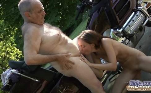 Young petite girl swallows old cum after grandpa cock ride|15,003 views