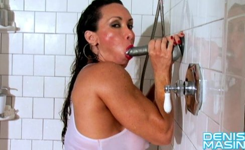 Denise Masino - Shower with a Silver Suction Dildo - Female Bodybuilder|19,833 views