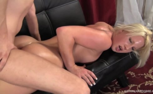 Blonde Pornstar Kimmy Olsen gets massage and a big cock |881 views