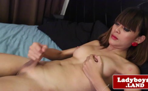 Asian tranny pornstar Mot wanking her cock|6,928 views